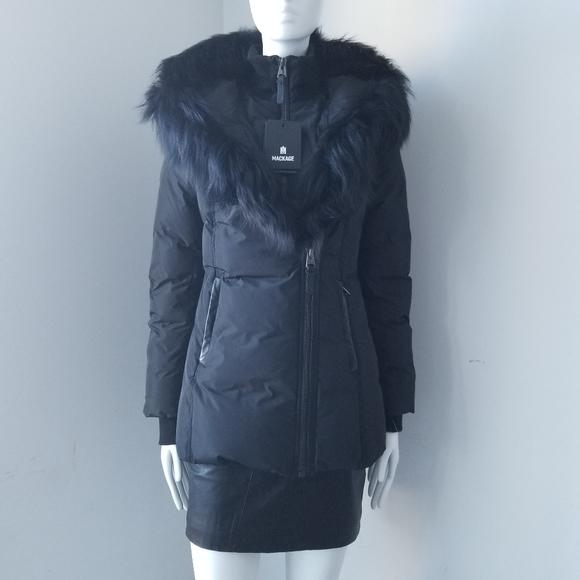 SOLD - NWT Mackage Adali Down Coat With Fox Fur Collar